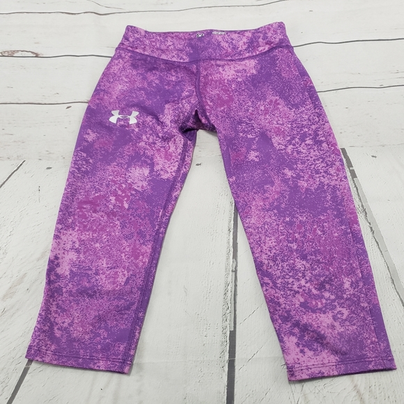 Girls Kids Youth Small Under Armour Leggings NEW pants Grey pink purple fitted